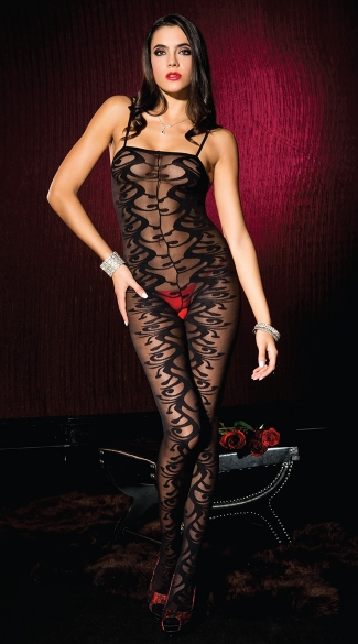 Opaque Swirl Jacquard Bodystocking