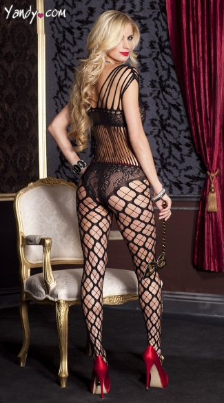 Shredded Bodystocking With Lace Detail