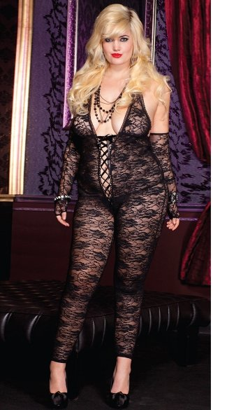 Plus Size Romantic Floral Lace Body Stocking, Plus Size Floral Print Bodystocking, Lack Bodystocking, Black Floral Print Body Stocking