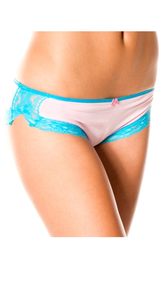 Pink and Blue Lace Boyshort