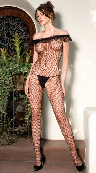 Ruffled Off The Shoulder Fishnet Bodystocking, Sexy Fishnet Bodystocking with Ruffles, Fishnet Bodystocking Lingerie