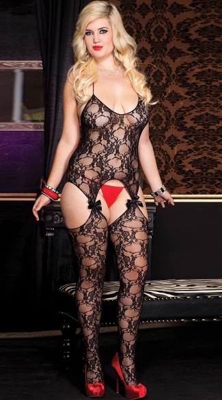 Plus Size Fancy Lace Bodystocking
