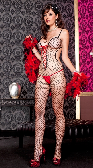 Diamond Net Lace Up Bodystocking, Open Back Bodystocking