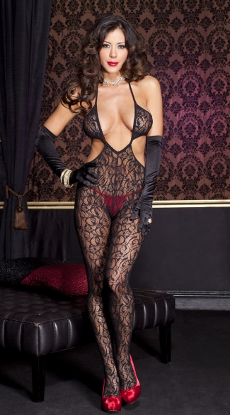 Lace Cut Out Body Stocking