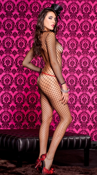 Long Sleeve Lace Trimmed Bodystocking