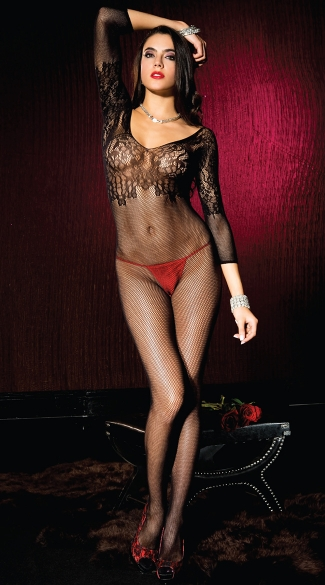 Lace and Fishnet Long Sleeve Bodystocking