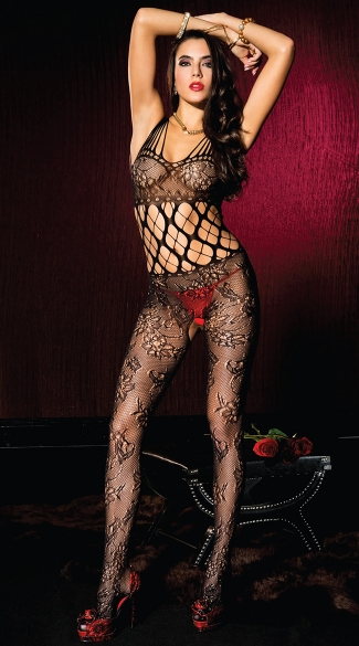 Cut Out Floral Bodystocking
