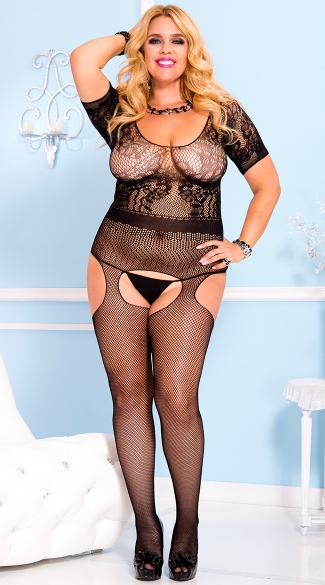 Plus Size Short Sleeve Lace Bodystocking, Plus Size Lace Bodystocking, Plus Size Lace and Fishnet Bodystocking
