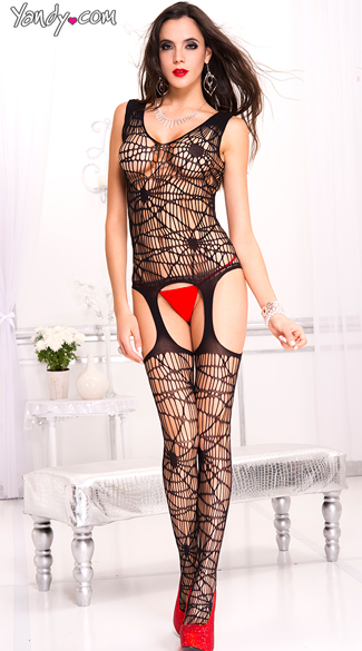 Spider Web Garter Bodystocking, Web Bodystocking