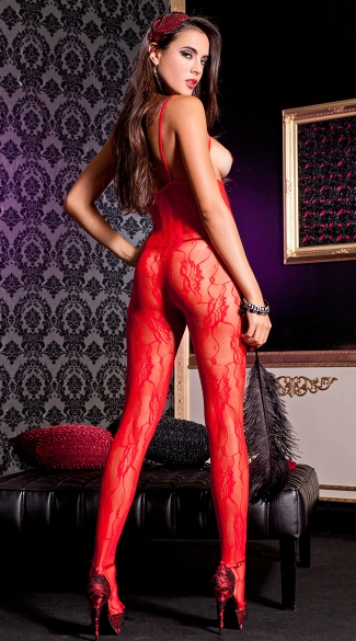 Red Lace Open Cup Bodystocking