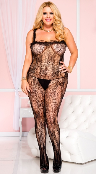 Plus Size Butterfly Lace Bodystocking