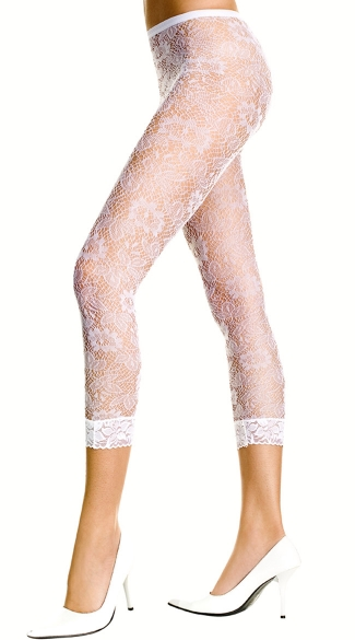 White Floral Lace Leggings, White Lace Leggings, Footless Pantyhose