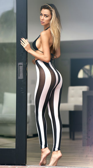 Opaque Striped Leggings