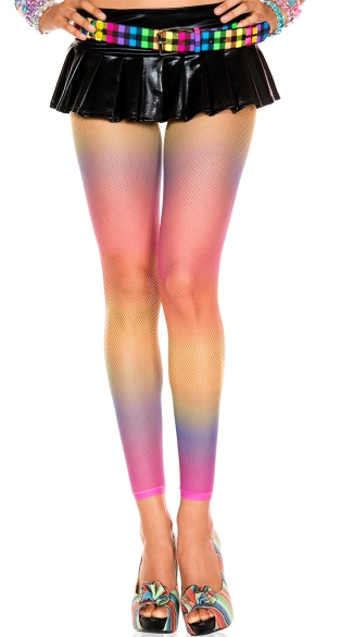 Rainbow Fishnet Leggings, Neon Fishnet Leggings
