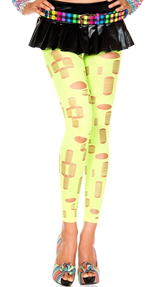 Neon Tattered Leggings