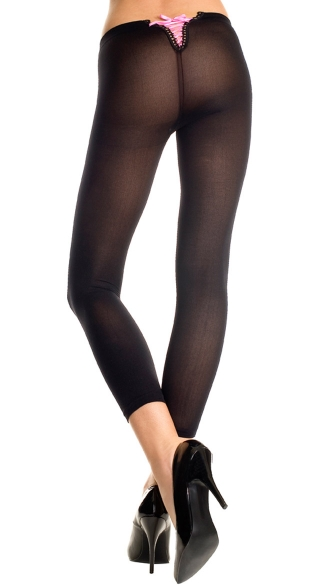 Opaque Leggings with Lace Up Back