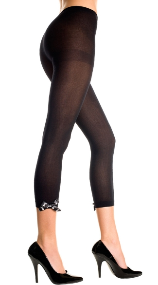 Opaque Leggings with Crossbone Bow