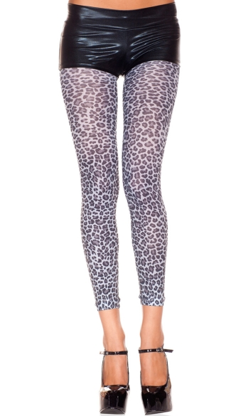 Opaque Leopard Print Leggings, Animal Print Leggings, Leopard Leggings
