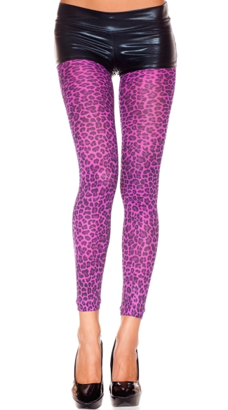 Opaque Purple Leopard Leggings