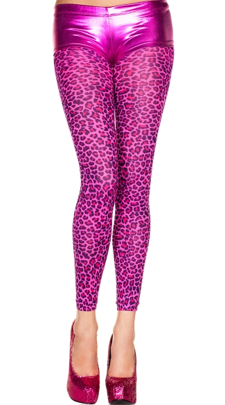 Hot Pink Leopard Leggings, Leopard Print Opaque Leggings