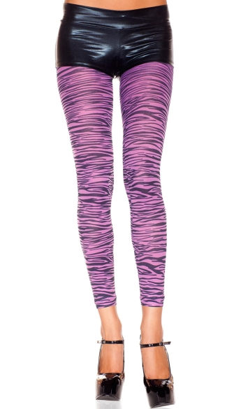 Purple Zebra Print Leggings, Animal Print Leggings, Zebra Leggings