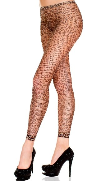 Orange Leopard Fishnet Leggings, Leopard Print Fishnet Leggings