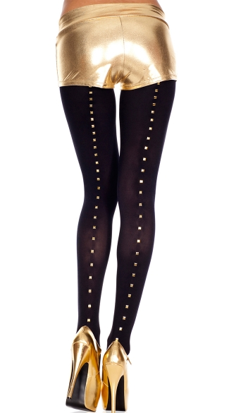 Gold Stud Backseam Tights, Studs Backseam Spandex Opaque Tights