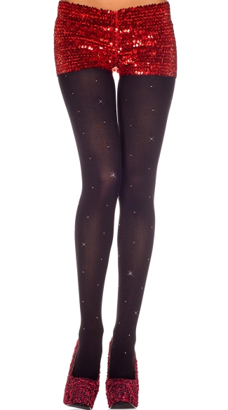 Black Tights with Silver Studs, Studs Spandex Opaque Tights
