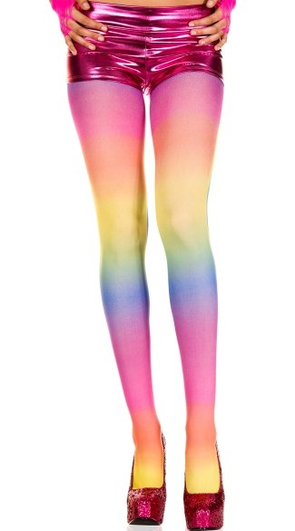 Opaque Rainbow Tights, Neon Rainbow Tights