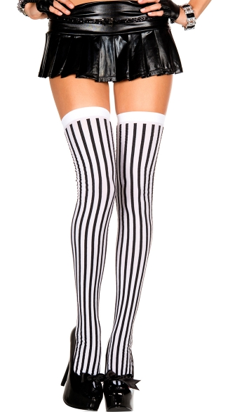 Black and White Striped Stockings, Striped Thigh Hi