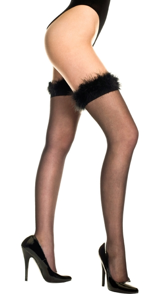 Sheer Thigh High with Marabou Trim