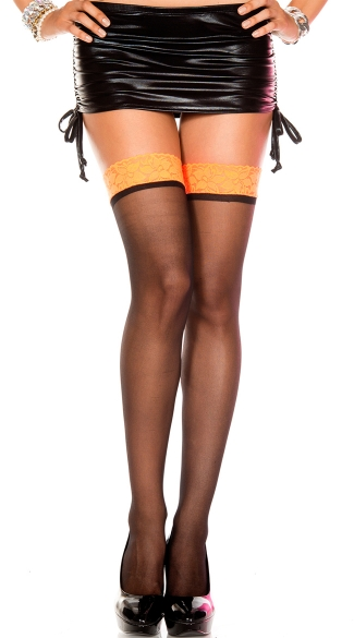 Contrast Lace Top Stockings, Contrast Lace Top Sheer Thigh Hi