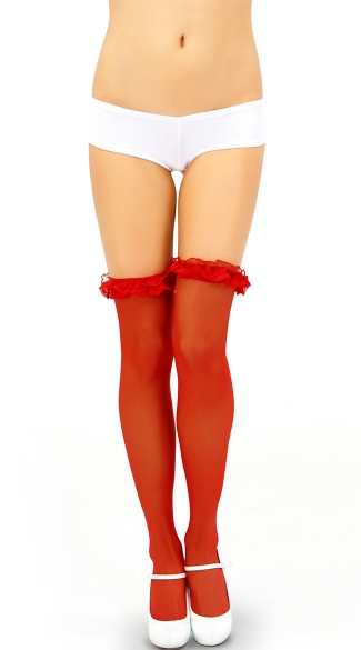 Sheer Thigh High with Ruffle Trim