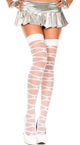 Sheer Criss Cross Thigh High