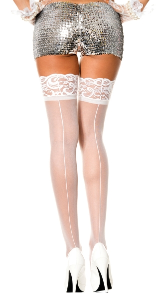 Lace Top Thigh High with Back Seam