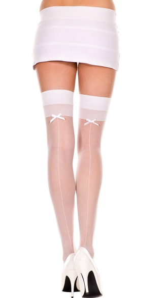 Sheer Thigh High with Back Seam and Bow, Back Seam Thigh High with Bow, Sheer Thigh High with Satin Bow