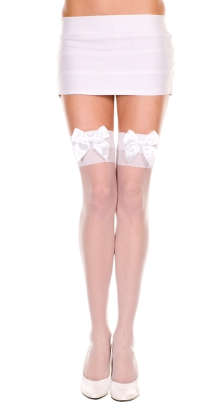 Sheer Thigh High with Satin Bow