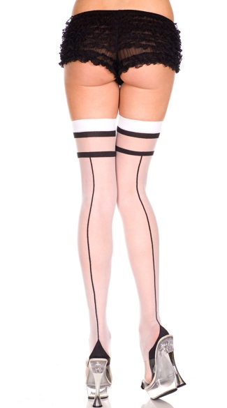 Two Tone Sheer Thigh High