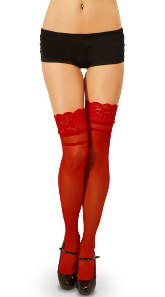 Wide Lace Top Thigh High with Cuban Heel
