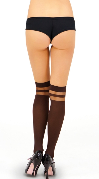 Opaque Thigh High with Sheer Bands