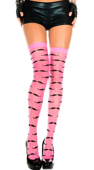Hot Pink Mustache Stockings, Spandex Sheer Thigh-hi With Mustache