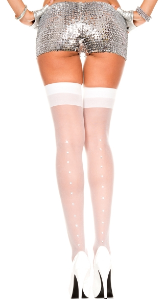 Sheer Thigh High with Rhinestones