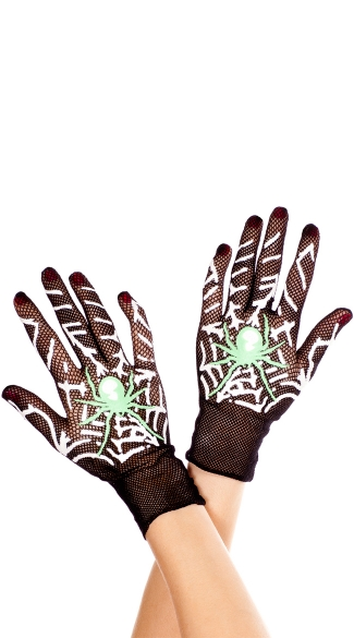 Spider Web Gloves, Web Print Costume Gloves