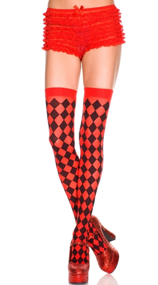 Diamond Opaque Checkered Thigh High, Opaque Thigh Highs, Opaque Thigh High Stockings