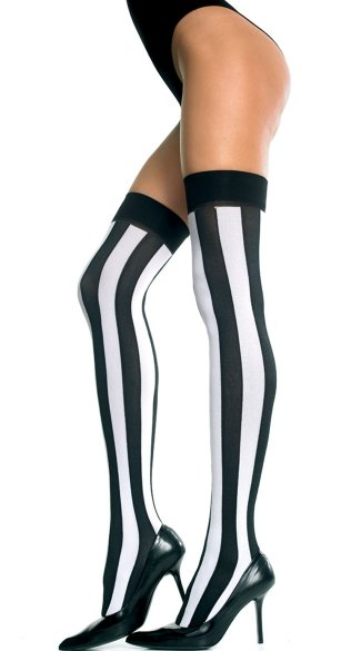 Opaque Vertical Striped Thigh Highs, Black and White Thigh Highs, Black and White Striped Stockings