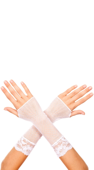 White Fishnet Mini Gloves, Cropped White Gloves