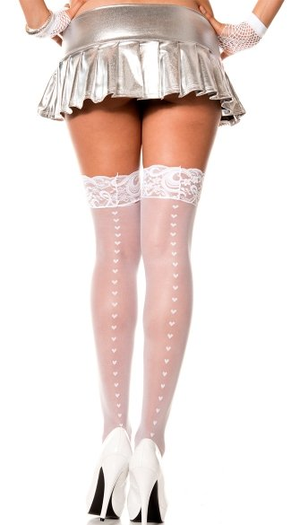 Sheer Thigh High with Heart Backseam, White Sheer Thigh High with Hearts, Sheer Thigh High with Lace Top