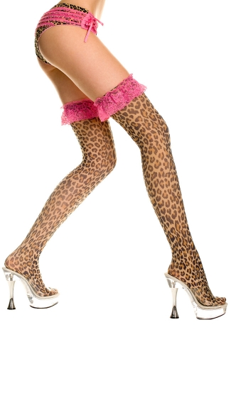 Leopard Print Thigh High with Ruffle