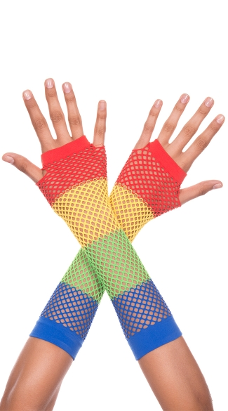Diamond Net Fingerless Gloves, Rainbow Fingerless Gloves, Rainbow Fishnet Gloves