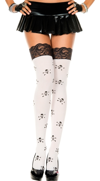 Crossbone Print Thigh Thigh with Lace Top, White Thigh High with Black Crossbones, Crossbones Thigh High
